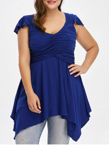 Buy Plus Size Cap Sleeve Ruched Asymmetrical T-Shirt - 5XL BLUE Mobile