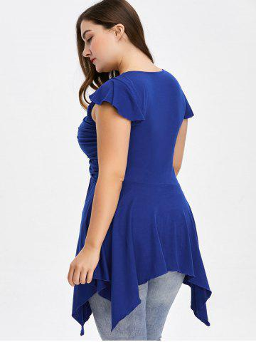 Affordable Plus Size Cap Sleeve Ruched Asymmetrical T-Shirt - 4XL BLUE Mobile