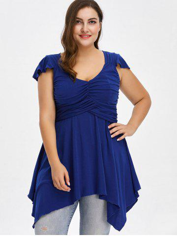 Chic Plus Size Cap Sleeve Ruched Asymmetrical T-Shirt - 4XL BLUE Mobile