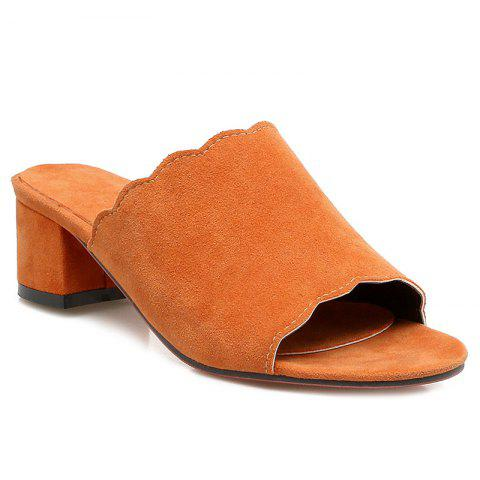 New Scalloped Suede Slippers - 37 PEARL KUMQUAT Mobile