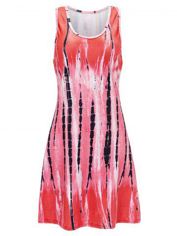 Cheap U Neck Abstract Print Mini Tank Dress