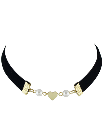 Artificial Pearl Heart Velvet Choker Necklace - Black