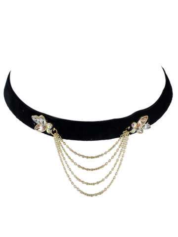 Outfit Vintage Rhinestone Fringed Choker Necklace