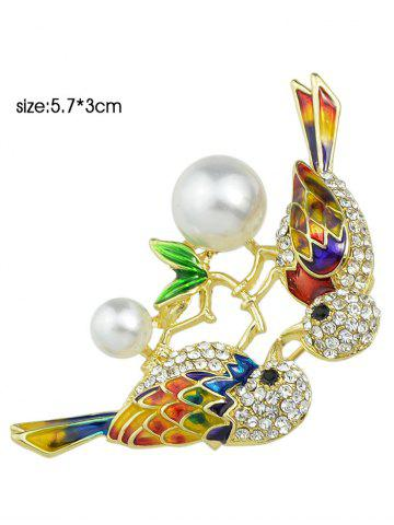 Chic Rhinestone Faux Pearl Birds Brooch - GOLDEN  Mobile