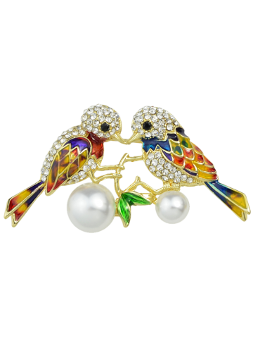 New Rhinestone Faux Pearl Birds Brooch - GOLDEN  Mobile