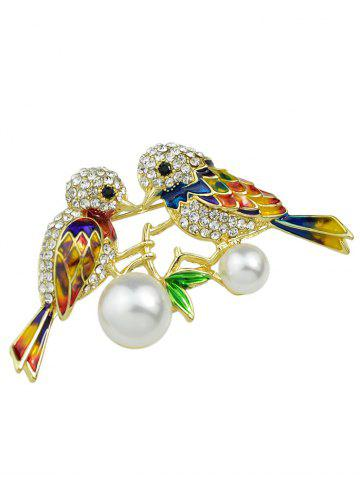 Store Rhinestone Faux Pearl Birds Brooch - GOLDEN  Mobile