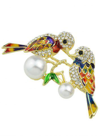 Buy Rhinestone Faux Pearl Birds Brooch - GOLDEN  Mobile