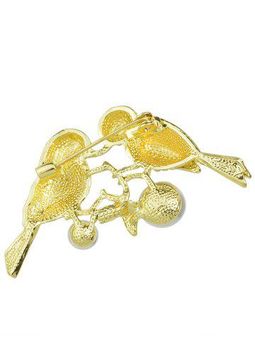 Outfit Rhinestone Faux Pearl Birds Brooch - GOLDEN  Mobile