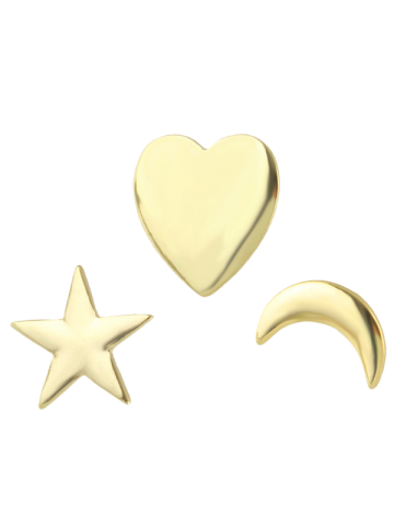 Store Moon Star Heart Brooch Set - GOLDEN  Mobile