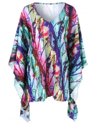 Trendy Plus Size Butterfly Sleeve Tie Dye T-Shirt COLORMIX XL