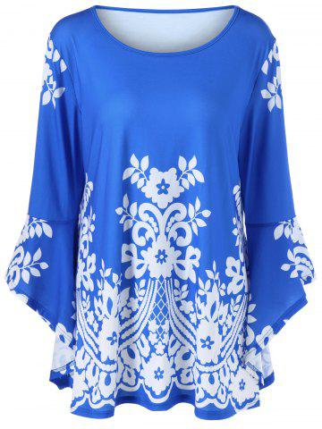 Buy Plus Size Flare Sleeve Tiny Floral T-Shirt BLUE 4XL