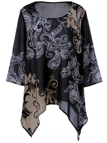 Discount Plus Size Printed Asymmetric Blouse BLACK 2XL