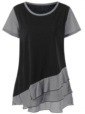 Sale Plus Size Colorblock Layered Flounce T-Shirt