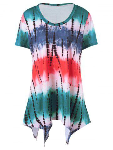 Unique Plus Size  Tie Dye Long T-Shirt COLORMIX 4XL
