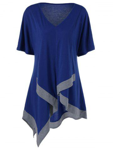 Cheap Plus Size V Neck Long Asymmetric T-Shirt DEEP BLUE XL