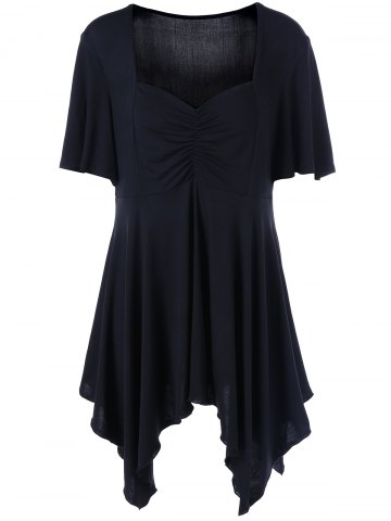 Buy Plus Size Ruched Front Sweetheart Neck T-Shirt