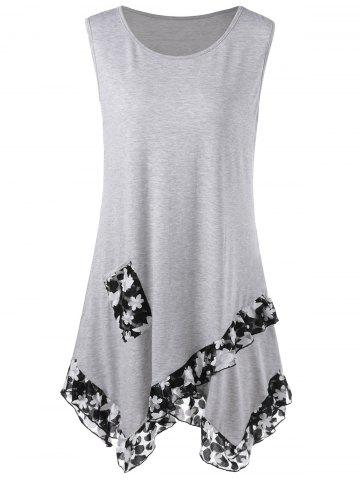 Affordable Flounced Plus Size Extra Long Tank Tops GRAY 3XL