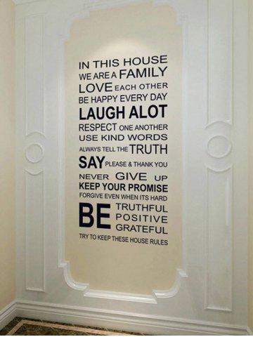 Outfit We Are Family Quote Wall Stickers For Living Room - 60*90CM BLACK Mobile