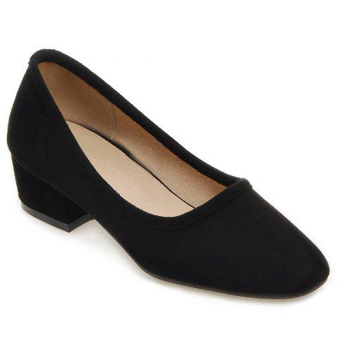 Square Toe Mid Heel Pumps - Black - 38