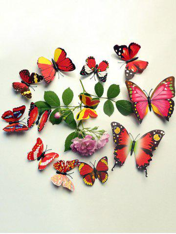 12 Pcs Simulation Butterfly Home Decor Wall Stickers - Red - W79 Inch * L59 Inch