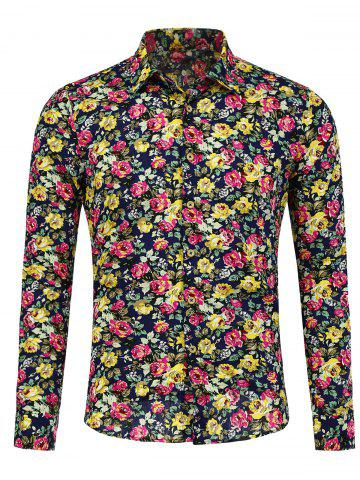 Long Sleeve Peony Pattern Shirt - Floral - M