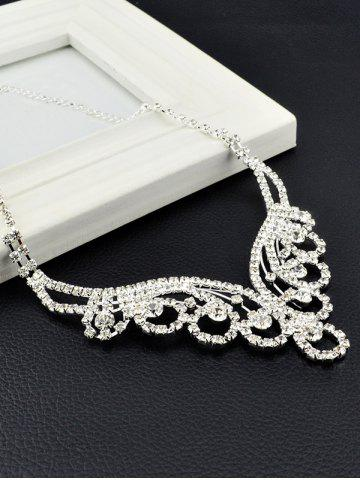 Outfits Water Drop Floral Zircon Jewelry Set - SILVER  Mobile