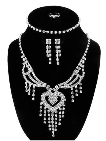 Outfits Rhinestone Hollow Out Heart Fringe Jewelry Set SILVER