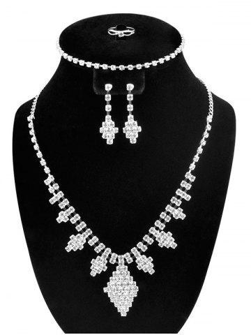 New Artificial Diamond Rhombus Jewelry Set - SILVER  Mobile