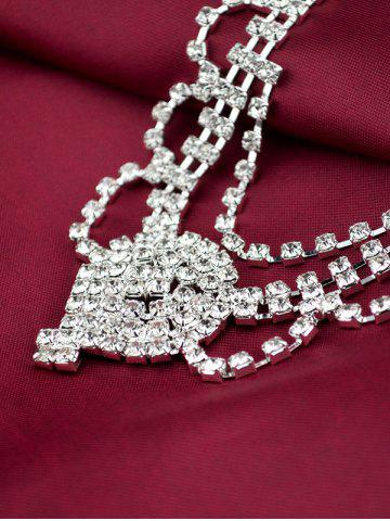 Fashion Floral Zircon Hollow Out Jewelry Set - SILVER  Mobile