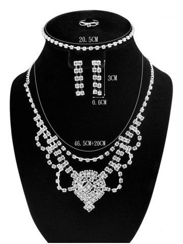 Fancy Floral Zircon Hollow Out Jewelry Set - SILVER  Mobile