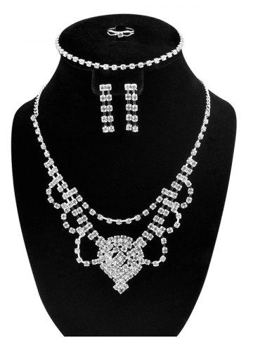 Buy Floral Zircon Hollow Out Jewelry Set - SILVER  Mobile