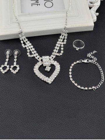Fashion Hollow Out Heart Rhinestone Jewelry Set - SILVER  Mobile