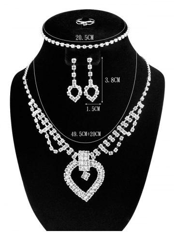 Store Hollow Out Heart Rhinestone Jewelry Set - SILVER  Mobile