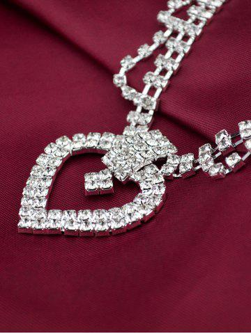Latest Hollow Out Heart Rhinestone Jewelry Set - SILVER  Mobile