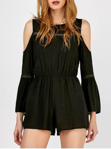 Outfit Cold Shoulder Lace Insert Bell Sleeve Romper BLACK M