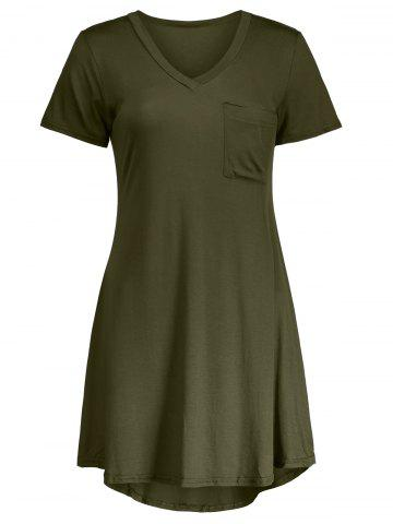 Shops Casual Short Sleeve V Neck Swing Dress ARMY GREEN 2XL