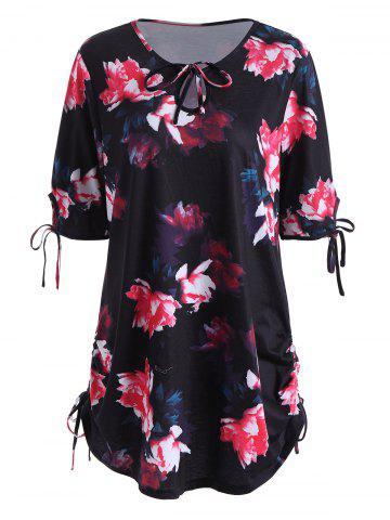 Keyhole Neck Floral Plus Size Top - Black - 4xl