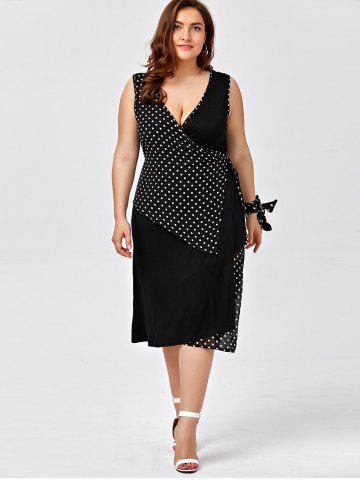 Unique Plus Size Sleeveless Polka Dot Wrap Dress - 2XL BLACK Mobile