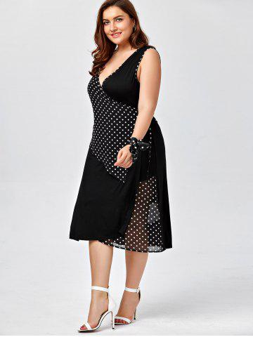 Fashion Plus Size Sleeveless Polka Dot Wrap Dress - 2XL BLACK Mobile
