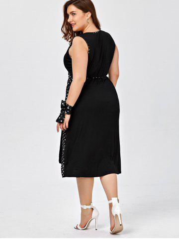 Shops Plus Size Sleeveless Polka Dot Wrap Dress - 2XL BLACK Mobile
