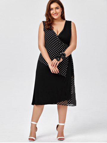 Shop Plus Size Sleeveless Polka Dot Wrap Dress - 2XL BLACK Mobile