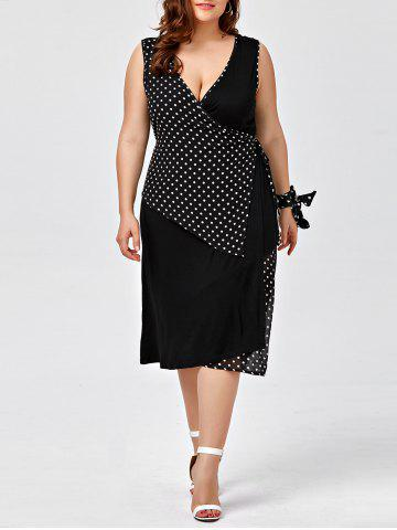 Trendy Plus Size Sleeveless Polka Dot Wrap Dress - 2XL BLACK Mobile