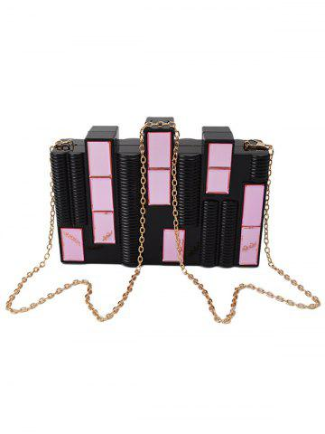 Chic Faux Crystal Evening Bag with Chains - BLACK  Mobile