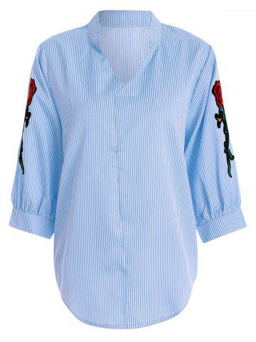 Fancy Plus Size Floral Pinstripe Embroidered Striped Shirt BLUE/WHITE 3XL