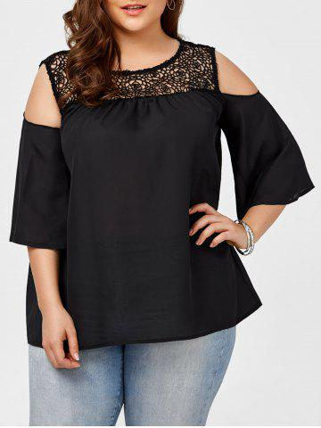 Plus Size Lace Insert Open Shoulder Chiffon Blouse - Black - 5xl