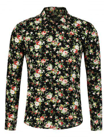 Peony Pattern Long Sleeve Shirt - Floral - M