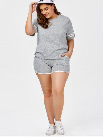 Shop Plus Size Stripe Panel T-Shirt With Running Shorts - 2XL GRAY Mobile