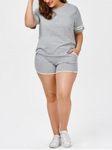 Online Plus Size Stripe Panel T-Shirt With Running Shorts - 2XL GRAY Mobile