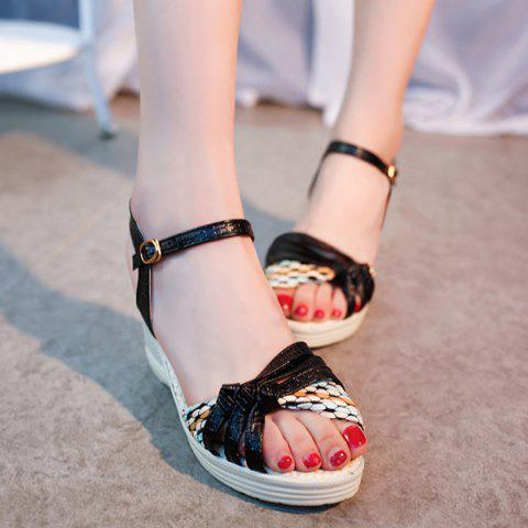 Best Weaving Wedge Heel Knot Sandals - 37 BLACK Mobile