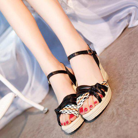 Cheap Weaving Wedge Heel Knot Sandals - 37 BLACK Mobile